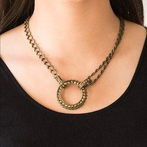 Layered Brass Necklace Earring Set NWT
